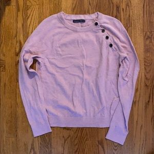 Abercrombie pink crew neck sweater with buttons